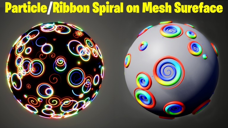Particle / Ribbon Spiral on Mesh Surface in UE5 Niagara Tutorial   Download Files