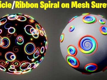 Particle / Ribbon Spiral on Mesh Surface in UE5 Niagara Tutorial | Download Files
