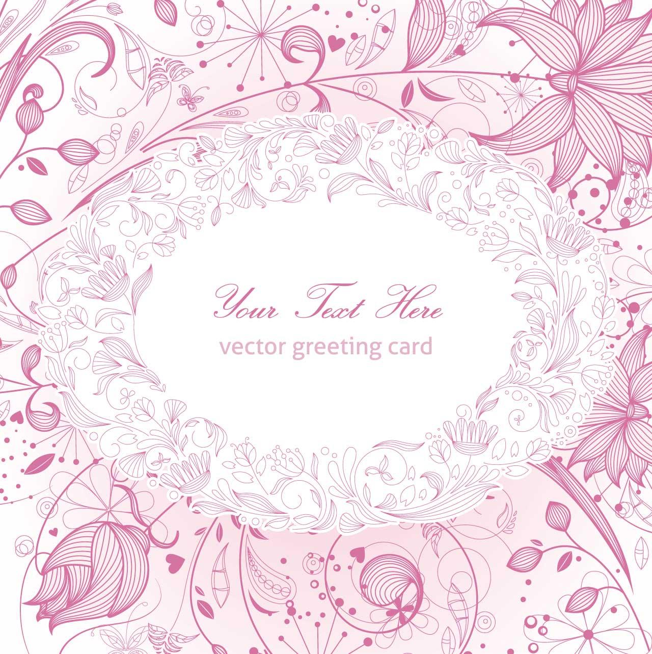 Floral Greeting Card Pink Vector Free Download