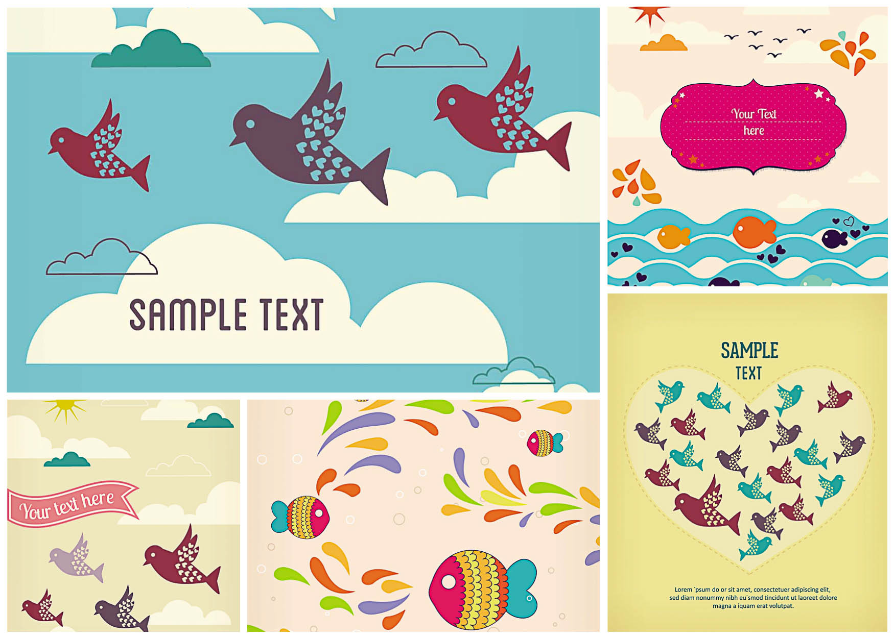 Vivid Greeting Card With Fish And Birds Vector Free Download