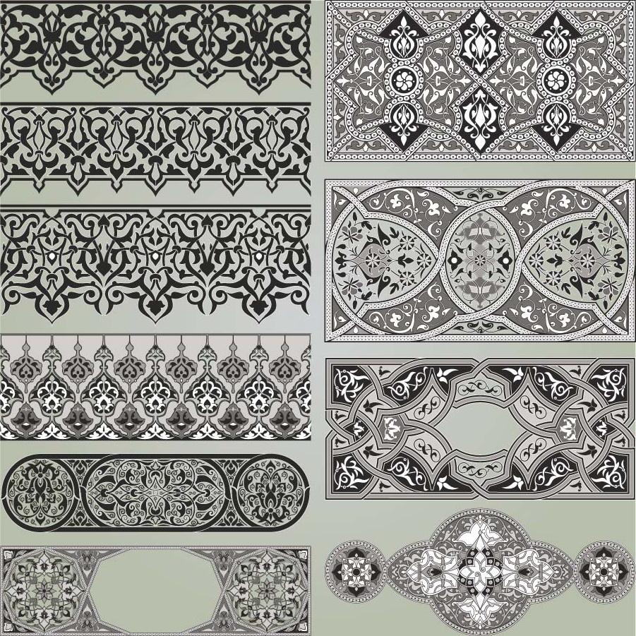 Ornate borders set vector  Free download