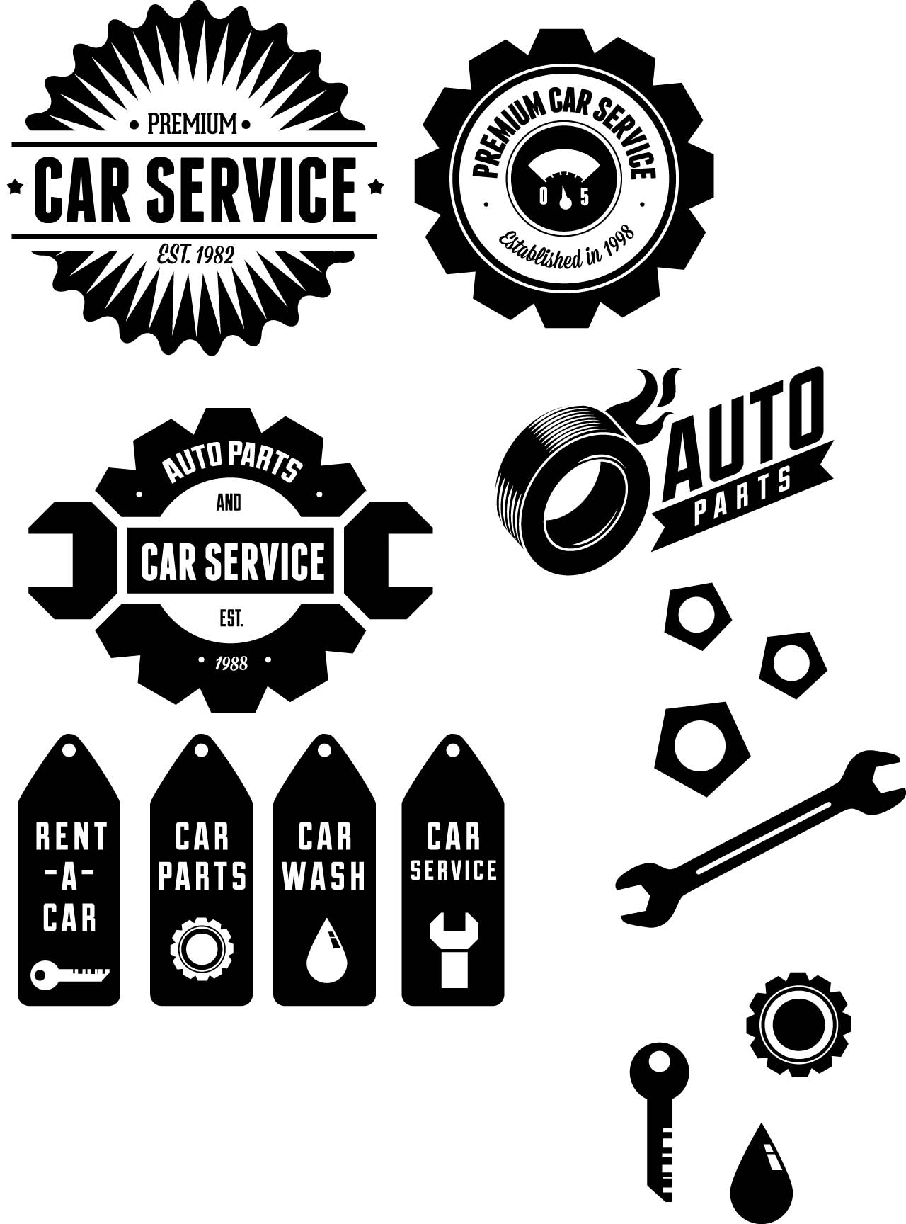 Retro Car Label Set Vector Free Download