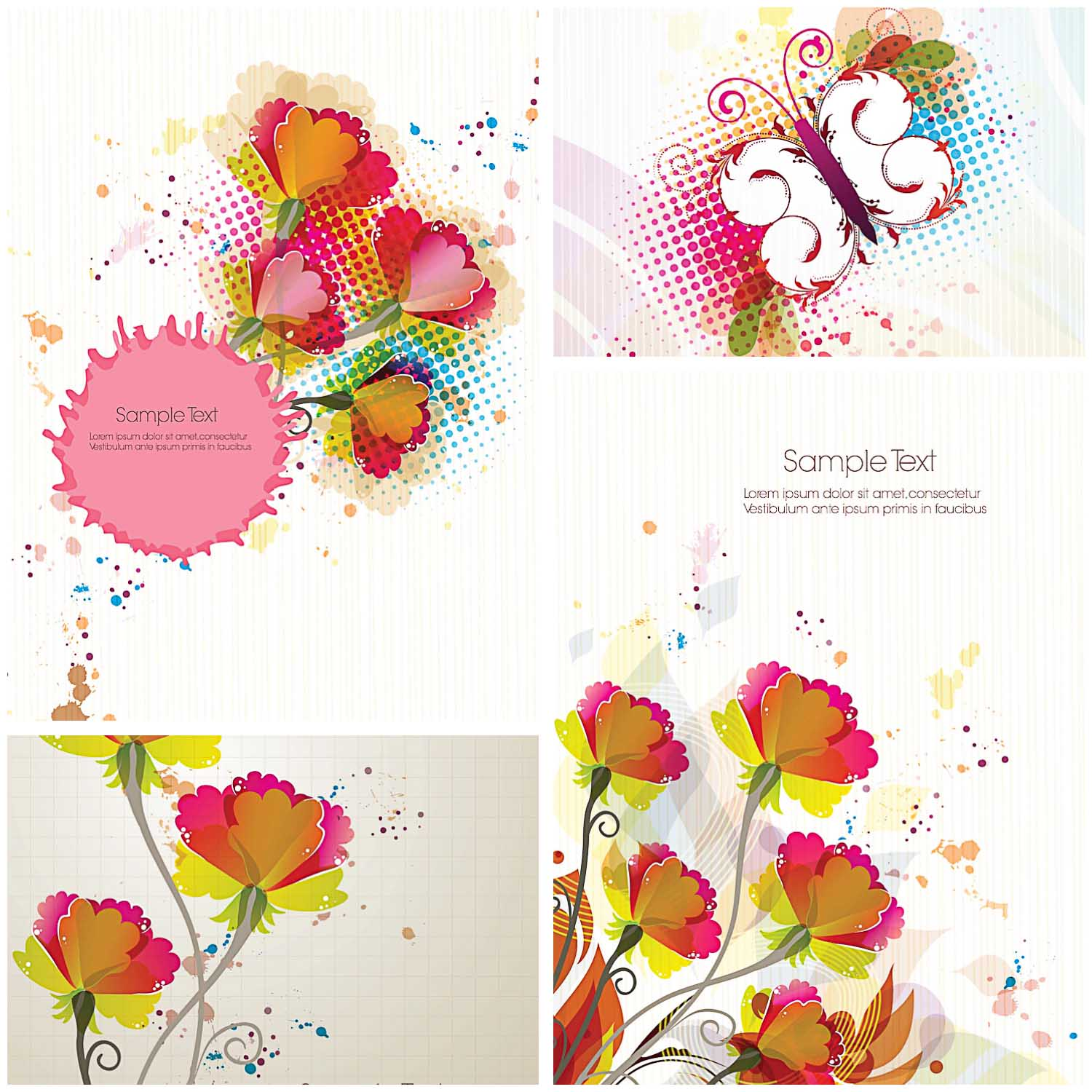 Colorful Flowers Greeting Card Set Vector Free Download