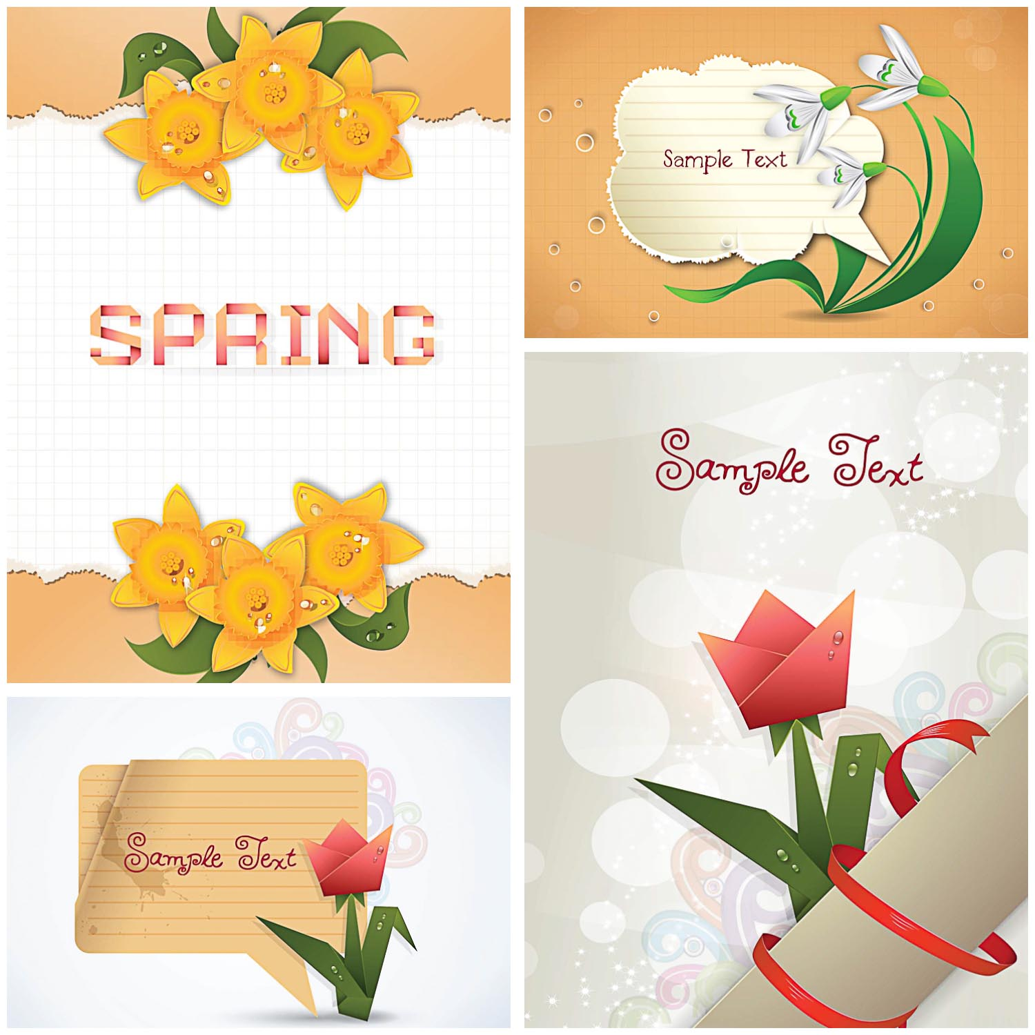 Spring Flowers Trendy Greeting Cards Set Free Download
