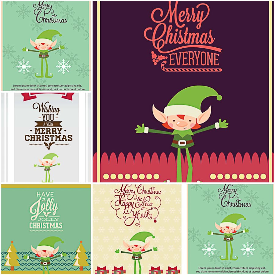 Fancy Holiday Giftcard With Elf Vector Free Download