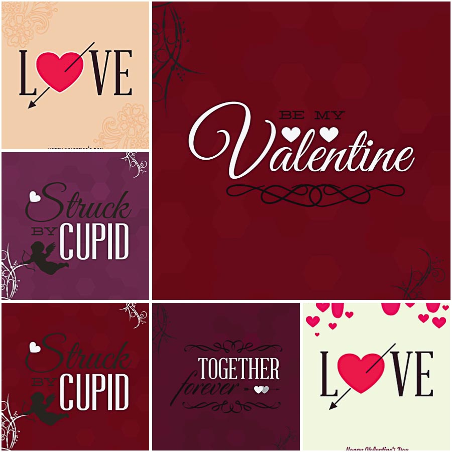 Cupid And Hearts Valentine Set Vector Free Download
