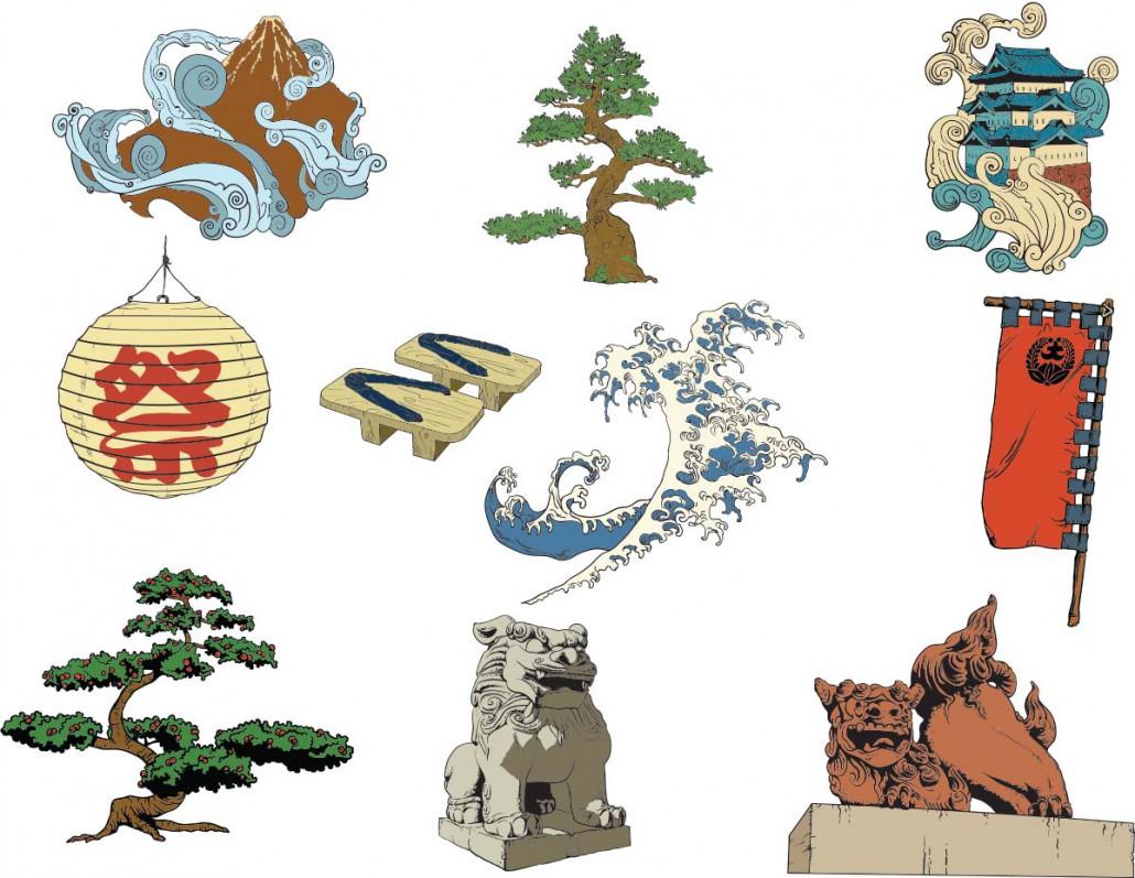 Japanese Decorative Elements Set