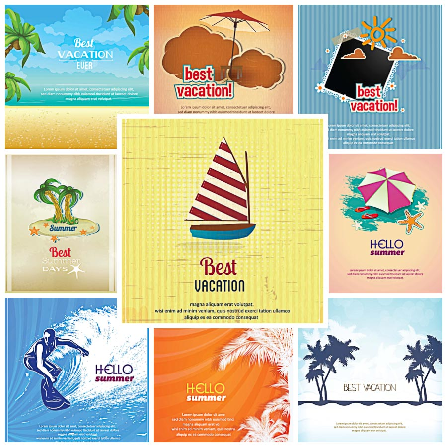 Summer Vacation Cards Vector Set Free Download
