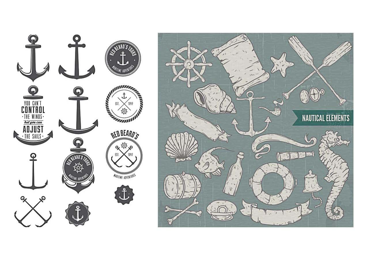 Nautical Elements Set Vector Free Download