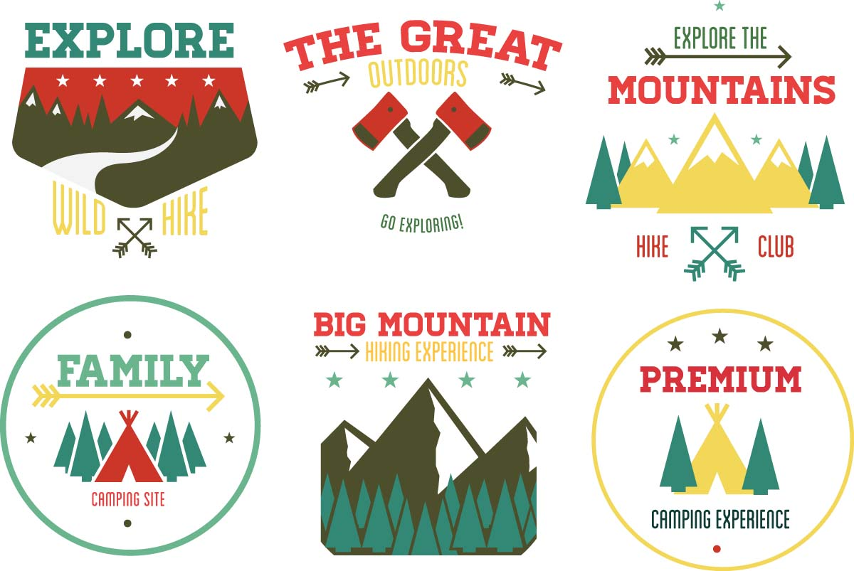Outdoor Adventure Badge Set Vector Free Download