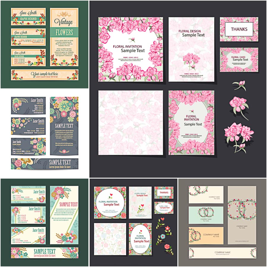 Floral Identity Card Set Vector Free Download