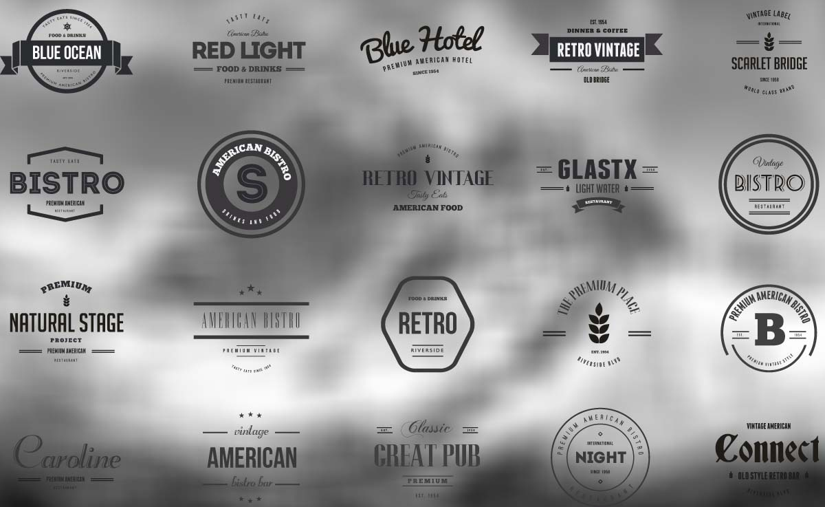 Vintage logos and badges bistro and hotel vector  Free download