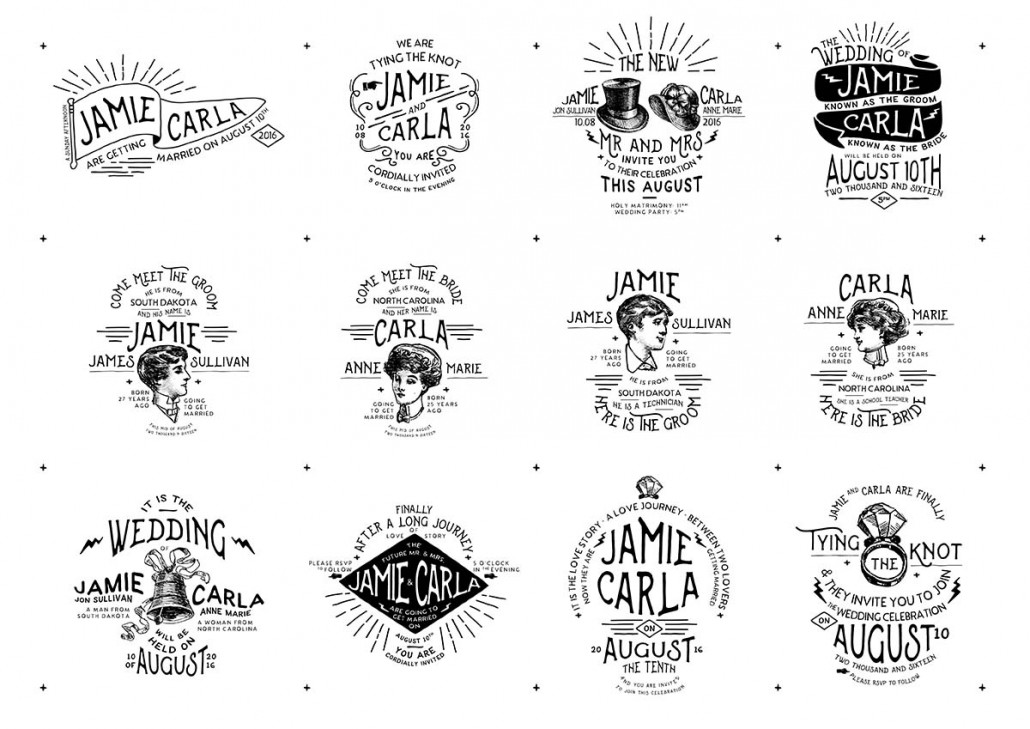 Vintage Wedding Badges And Stickers Vector Free Download