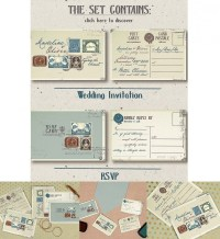 Vintage stamps wedding iInvitation set