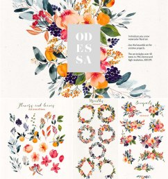 odessa floral watercolor clipart [ 1200 x 1314 Pixel ]
