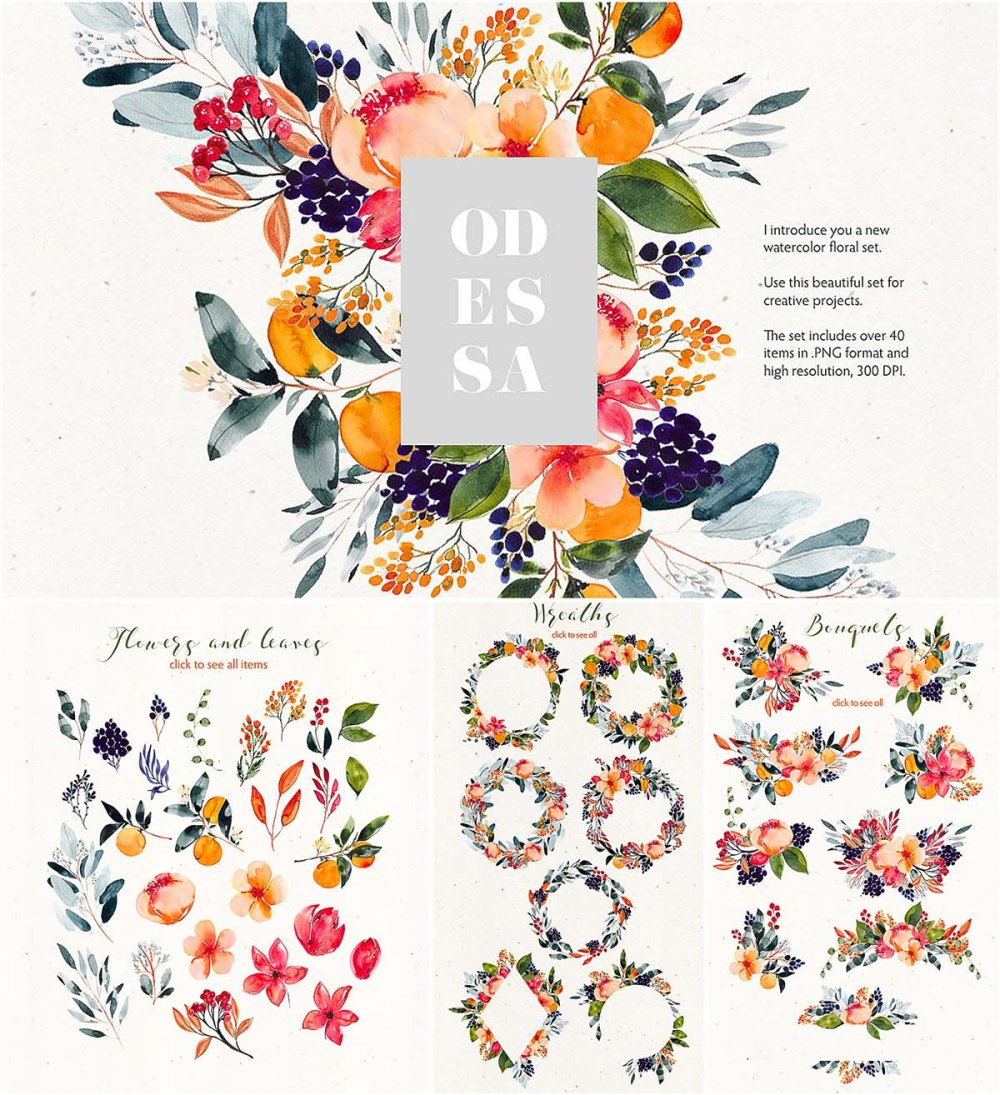 medium resolution of odessa floral watercolor clipart