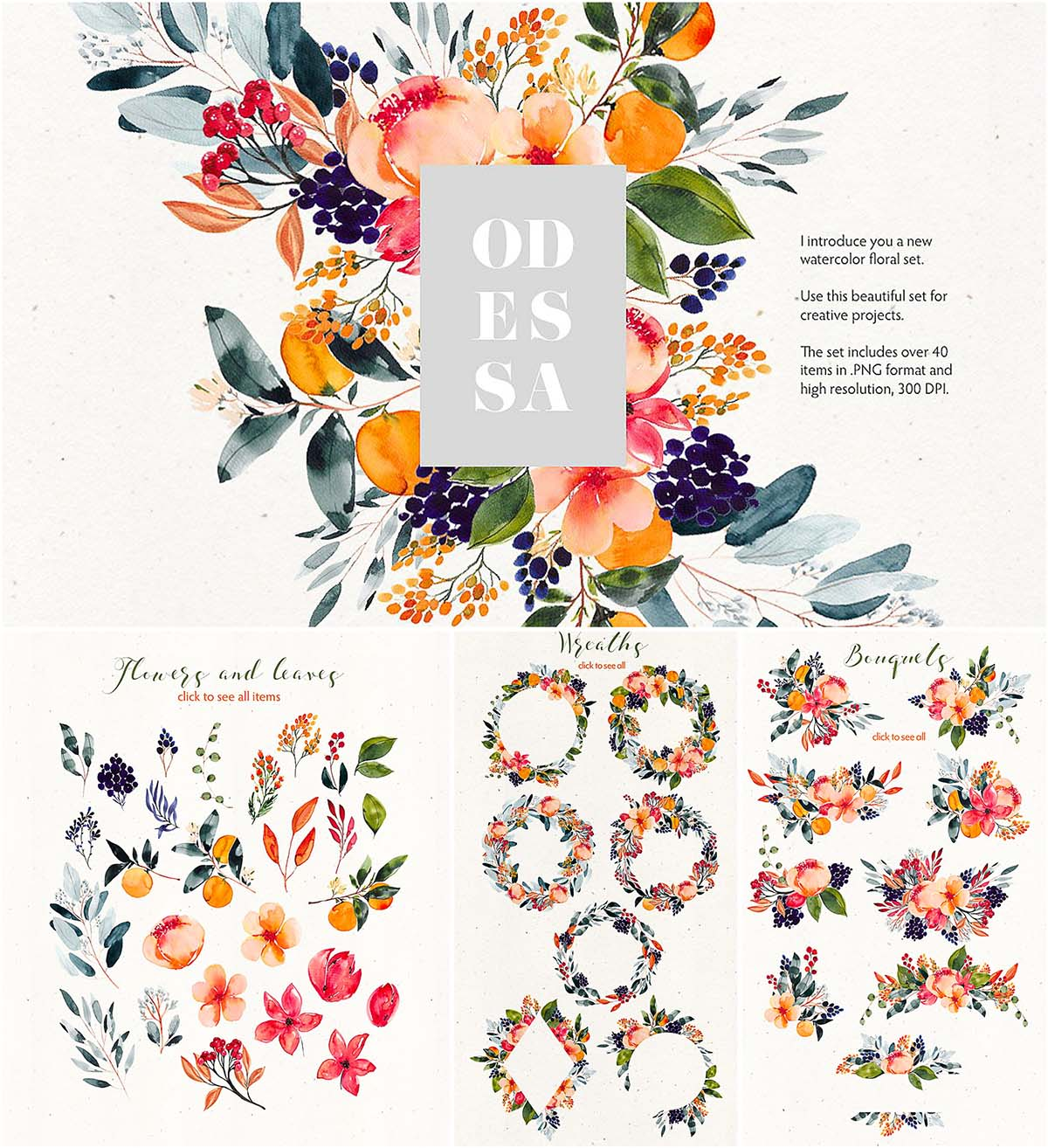 hight resolution of odessa floral watercolor clipart