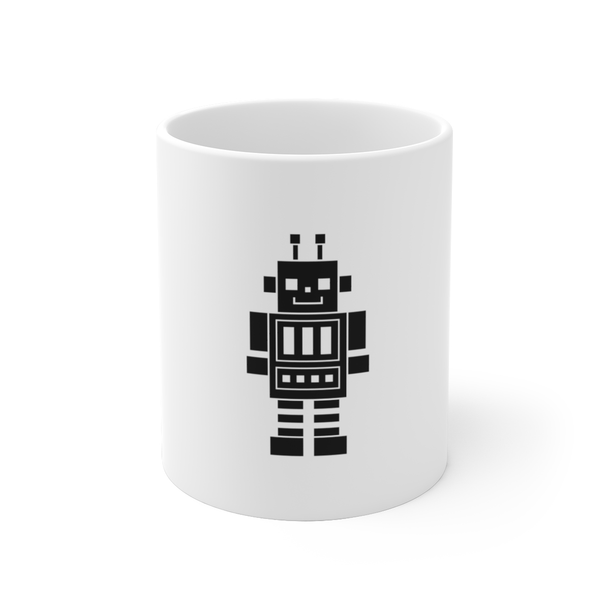 Happy Robot Ceramic Mug - Happy Robot Ceramic Mug - 15oz - .: White ceramic .: 11 oz. (0.33 l) and 15 oz. (0.44 l) .: Rounded corners .: C-handle