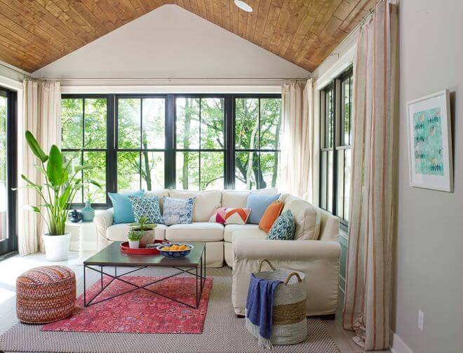 Inspiring sunroom living room ideas window treatments