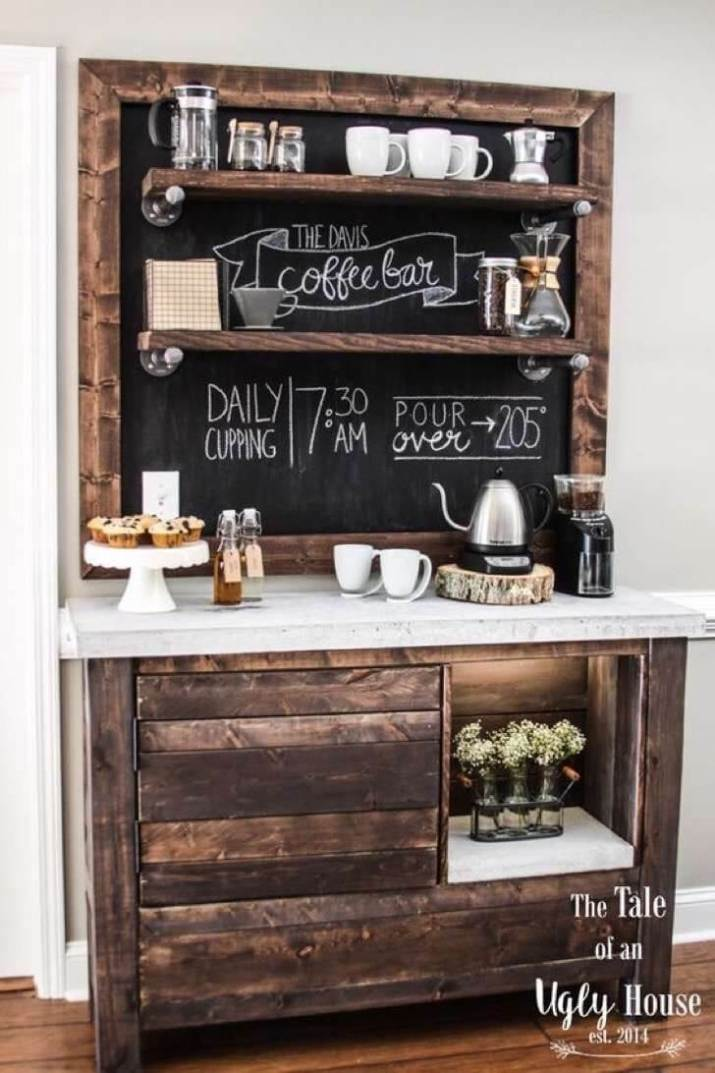 Creative and modern style home coffee station that will add personality to your room for a stunning home. Anyone Can Replicate