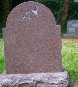 Back of Colonial Rose Granite Headstone