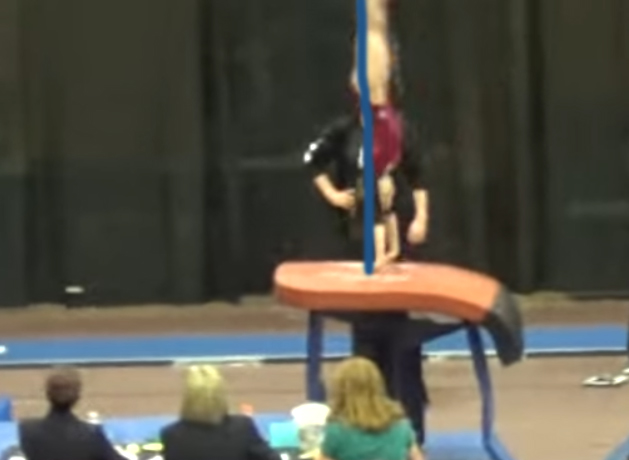 showing good angle of repulsion in handspring vault