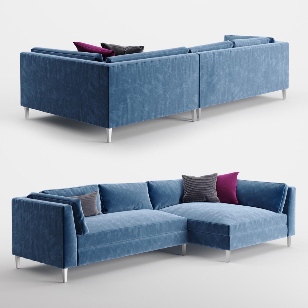 piece blue velvet sectional sofa 3d