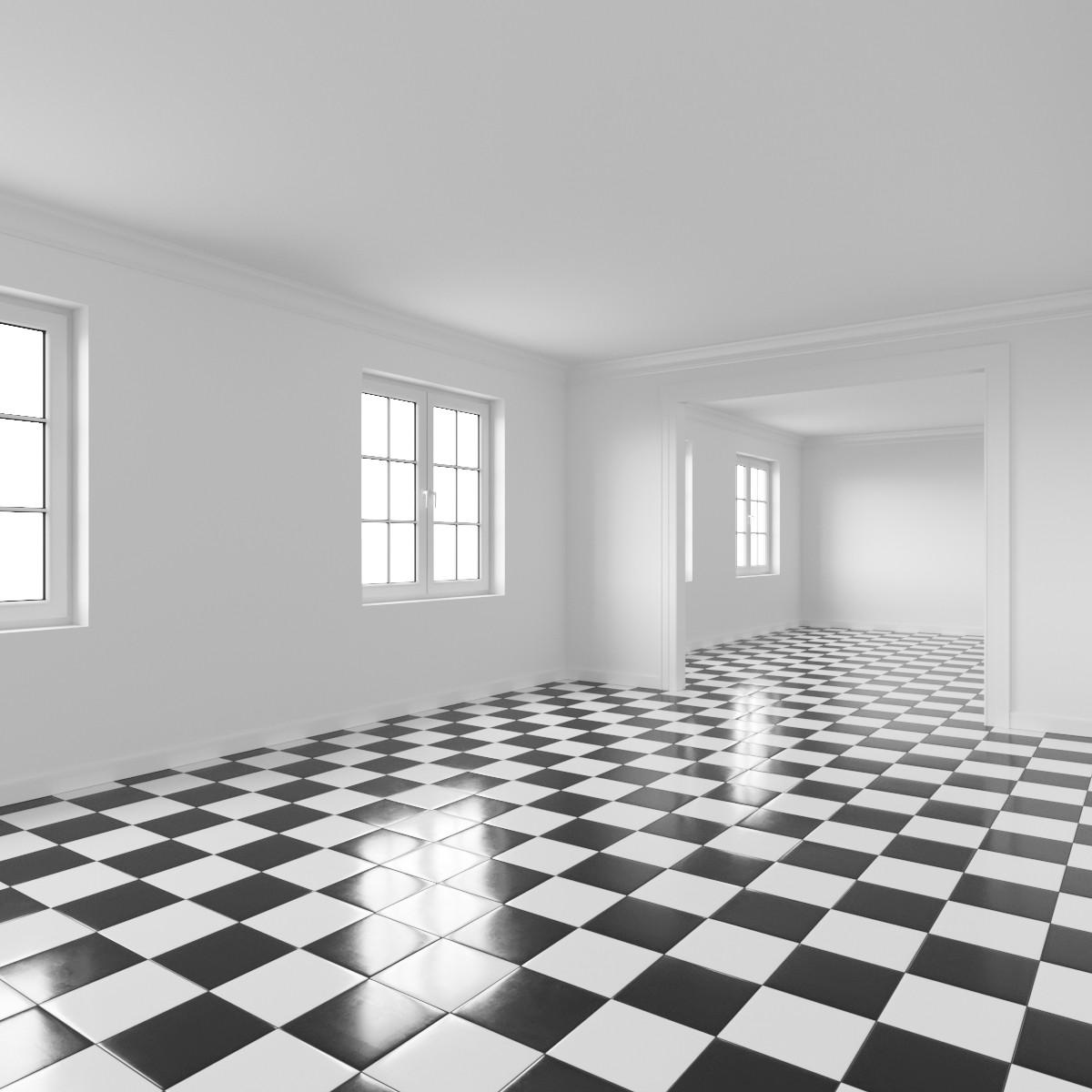black white tiles 3d model for corona
