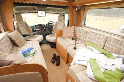 The lounge in the Auto-Trail Apache