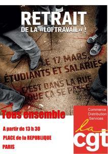 Rassemblement 17 mars Paris - Place de la République 13H30