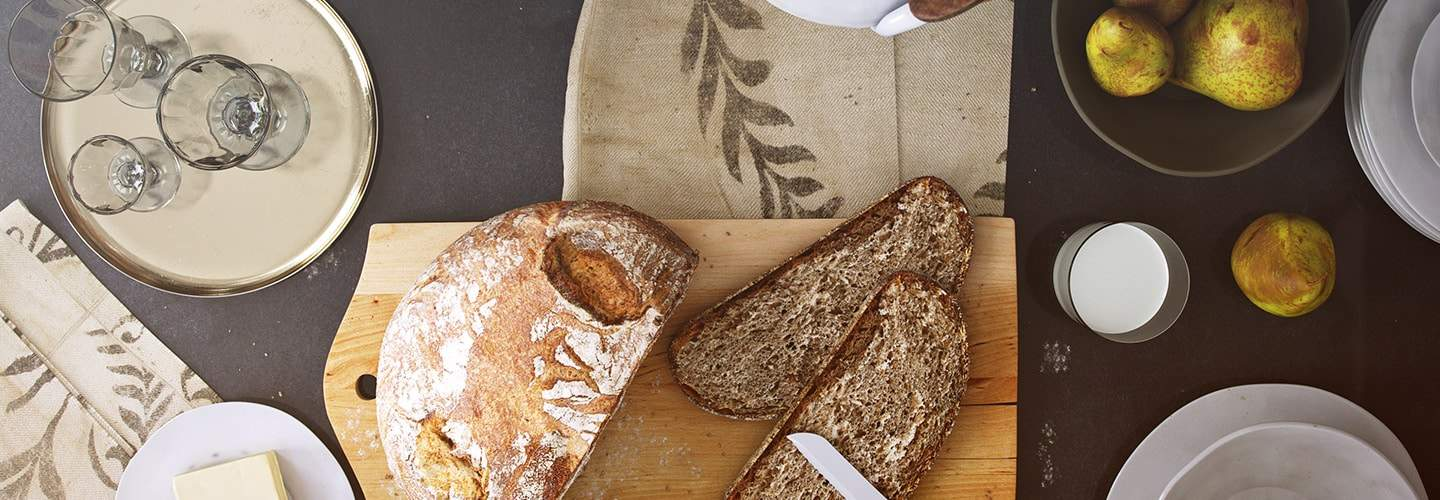 Mediterrian kitchen scene with a detailed bread and