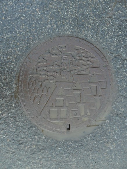 Man hole cover featuring the houses