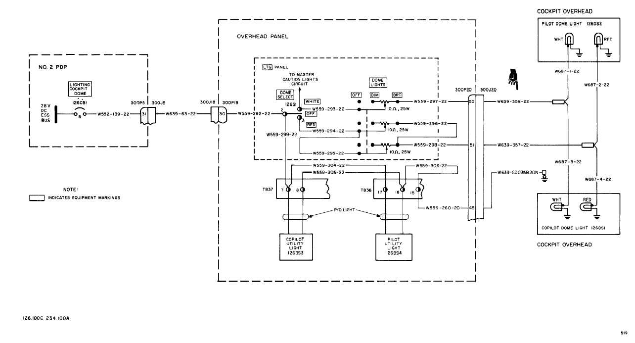 COCKPIT DOME AND UTILITY LIGHTS WIRING DIAGRAM