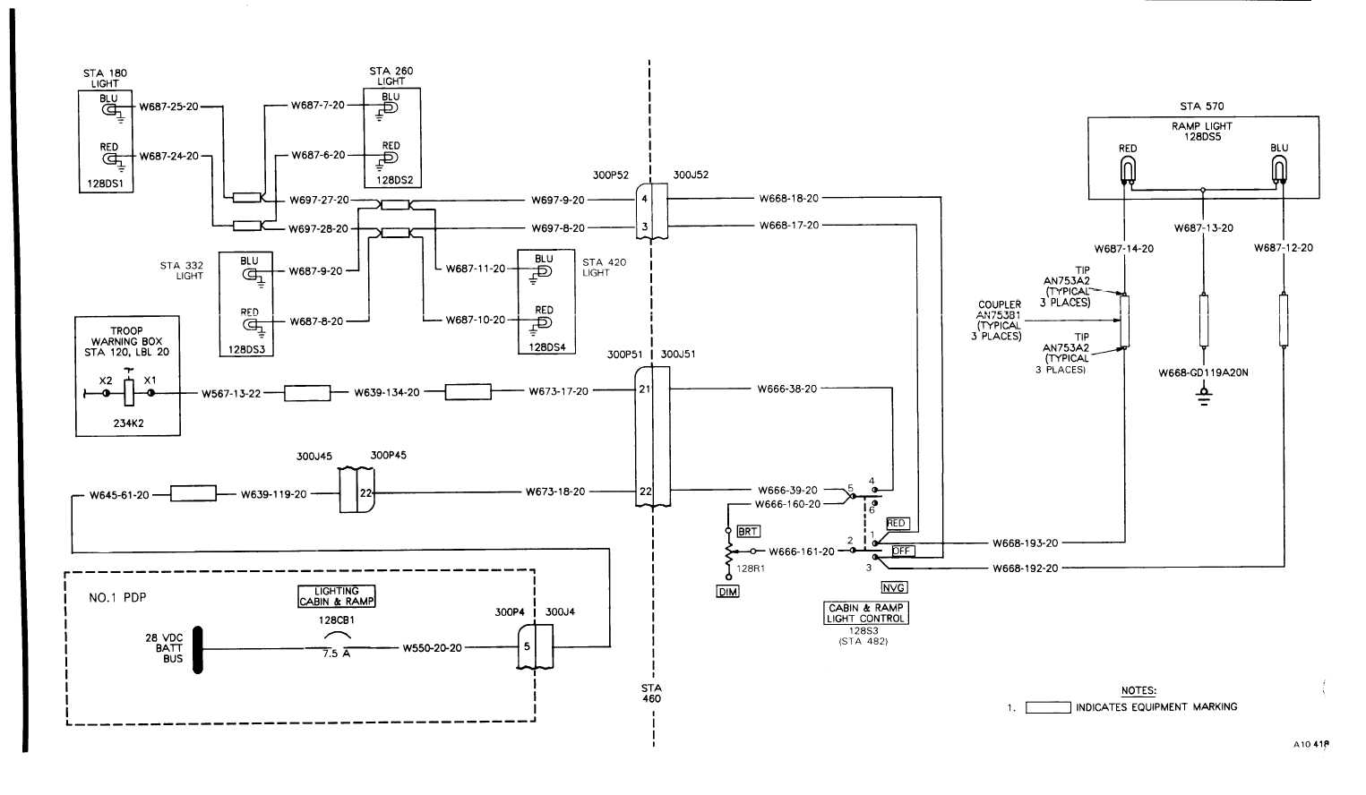 CABIN AND RAMP LIGHTS WIRING DIAGRAM