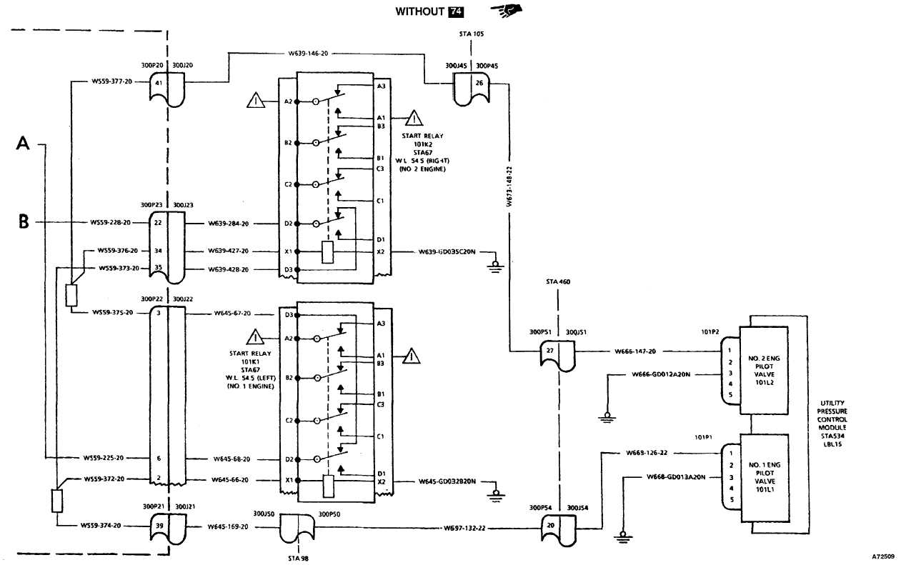ENGINE START SYSTEM WIRING DIAGRAM (HYDRAULIC PORTION