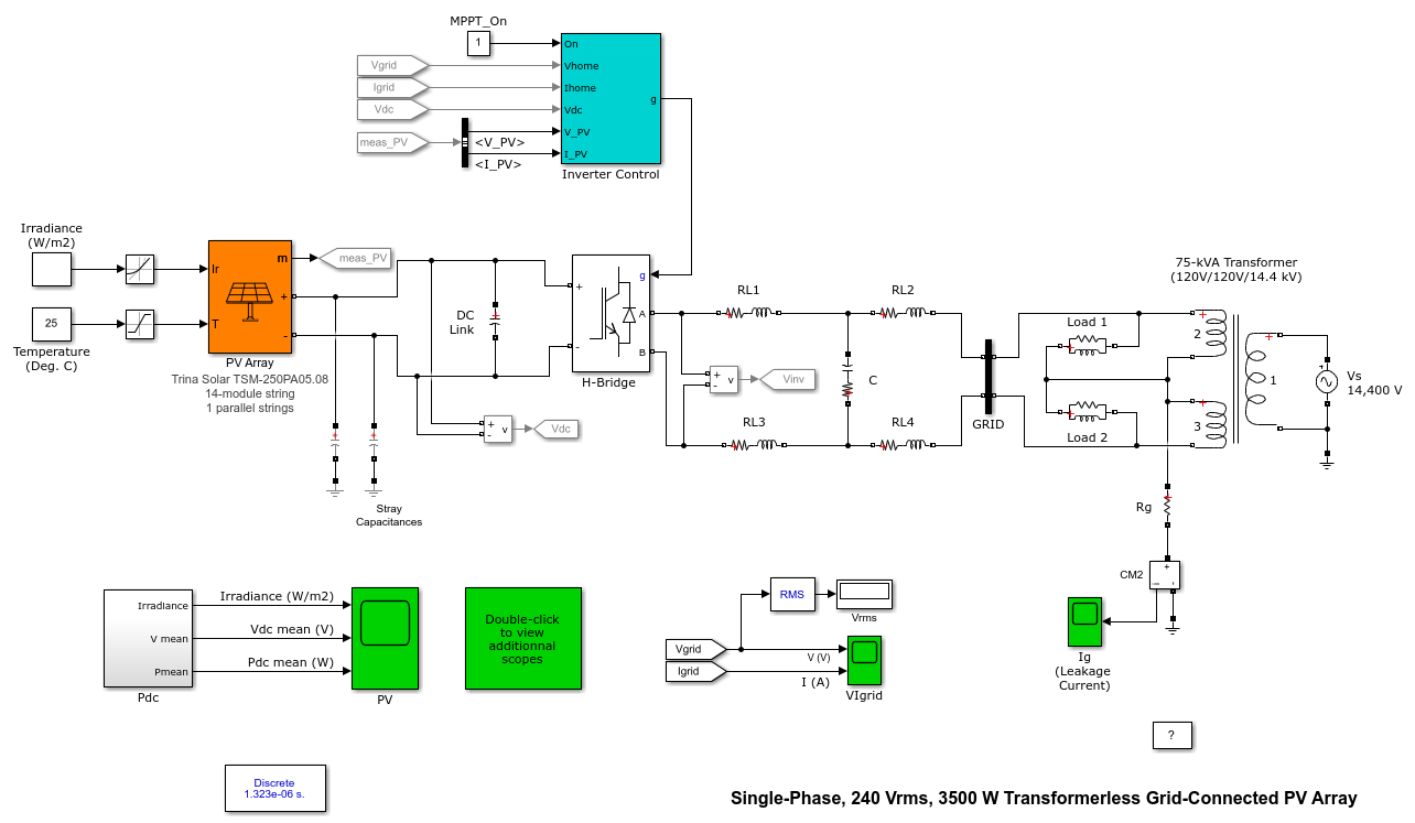 hight resolution of single phase 240 vrms 3500 w transformerless grid connected pv array matlab simulink