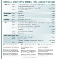 Candle Lighting Times  Chabad of the Shore