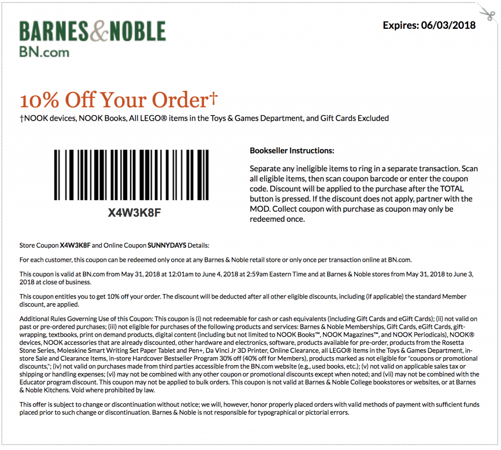 barnes noble 2018 and coupons printable