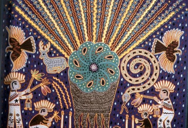 Peyote, Yarn Painting by Mariano Valadez.