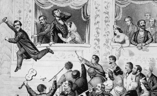 John Wilkes Booth Runs After Assassinating Lincoln, 1865 - Illustration