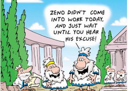 One of Zeno's motion paradoxes presented in a cartoon.