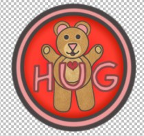 Picture of Sir Hugsalot with open arms and the word 'HUG'