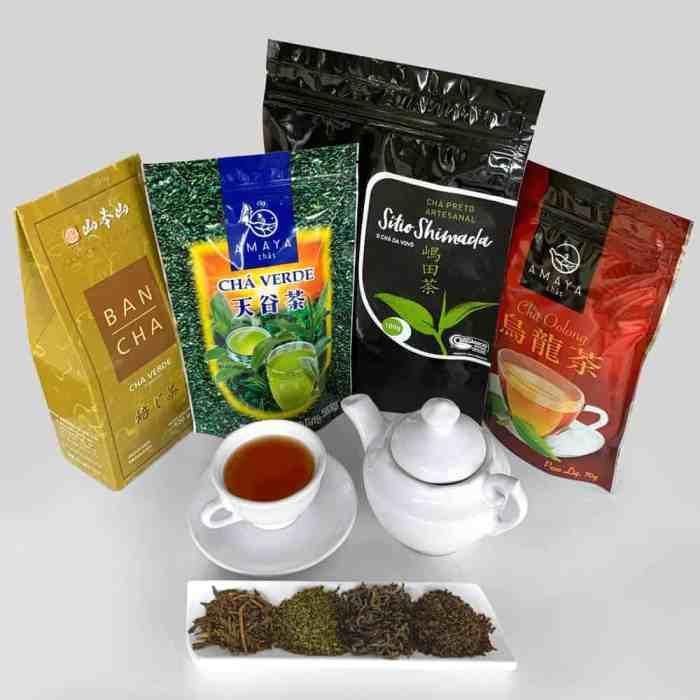 Kit Momentos: Chá Verde Banchá Torrado Yamamotoyama + Chá Verde Amaya + Chá Preto Orgânico Sítio Shimada + Chá Oolong Amaya