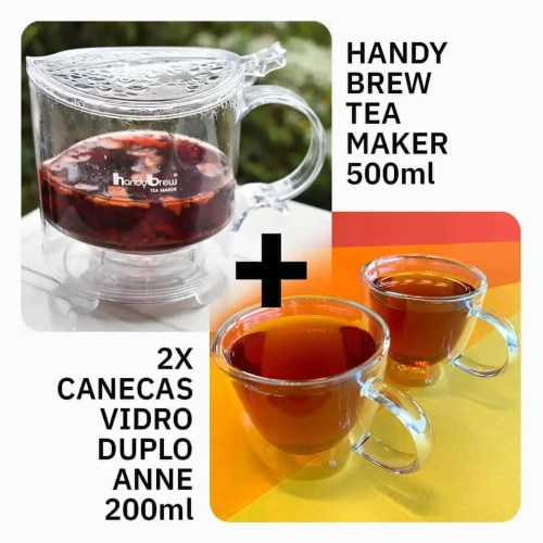Kit Handy Brew Tea Maker 500ml + 2x Canecas de Vidro Duplo Anne 200ml
