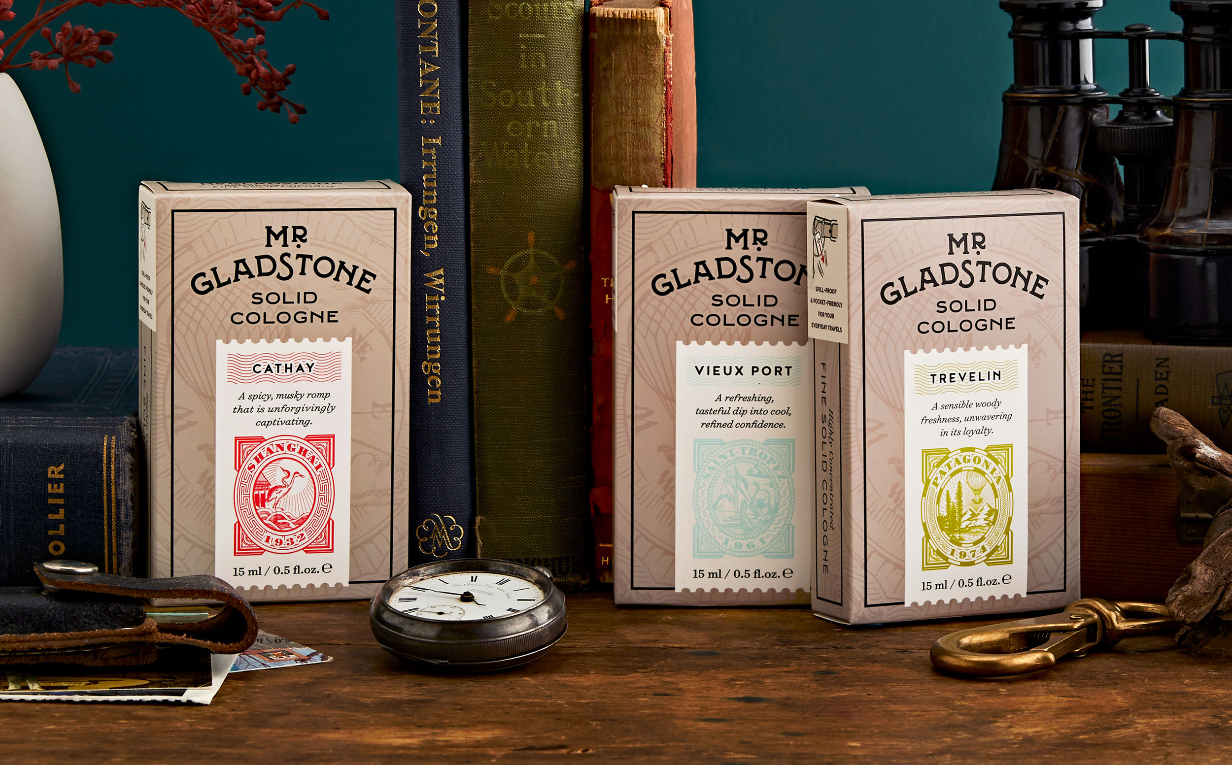Chad Roberts Design Ltd. Mr. Gladstone Solid Cologne Naming Brand Identity Package Design
