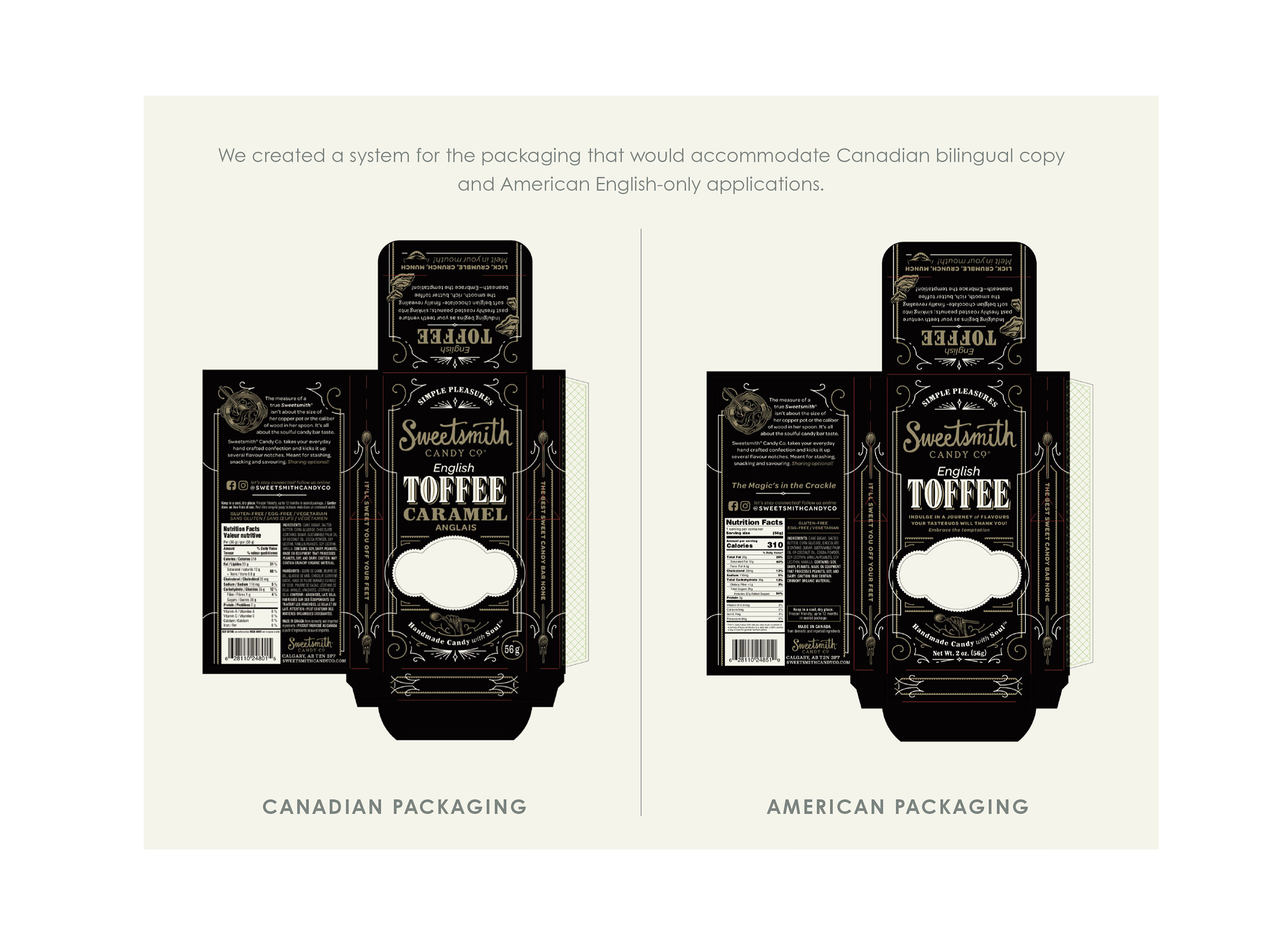 Chad Roberts Design Ltd. Sweetsmith Candy Co. English Toffee Bilingual US Packaging Layout