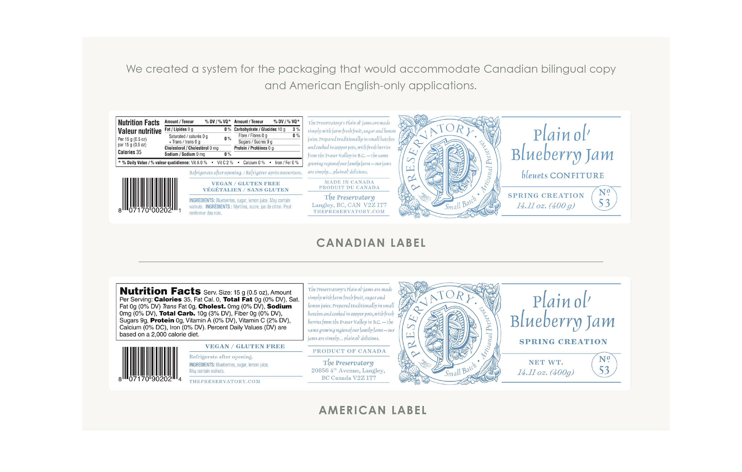 Chad Roberts Design Ltd. The Preservatory Plain ol' Jams Bilingual US Packaging Layout