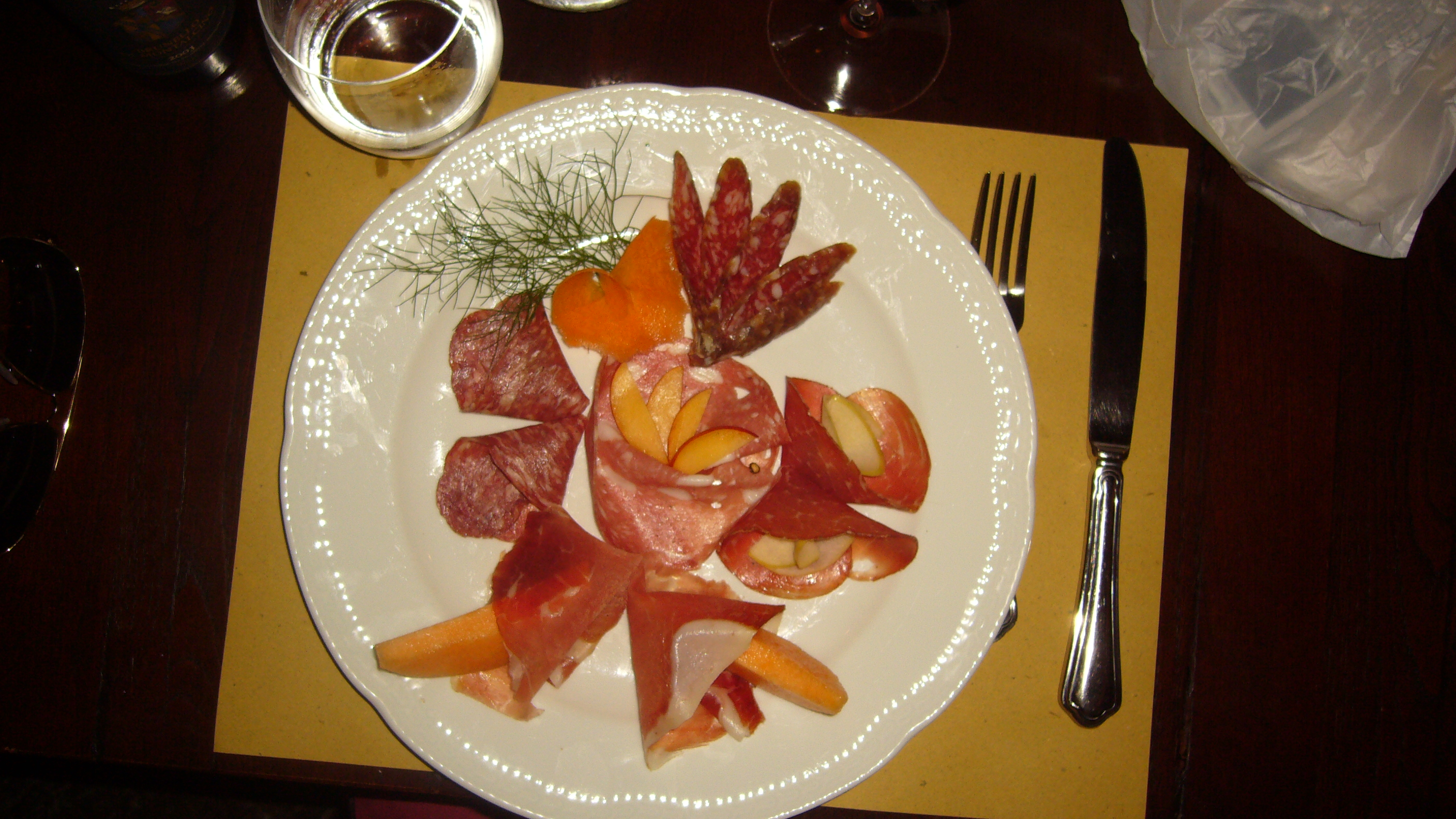 Cinghiale Paradise - wild boar sausage, prosciutto con melone, salame, finocciono with apricot, and bresola with apples.  You sure can't get this in the US.