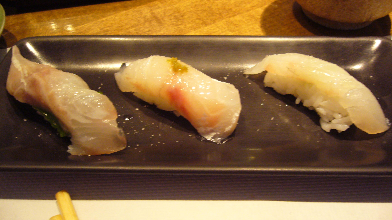 L-R: Tai - japanese snapper with sea salt and mint; Loup de Mer w/ yuzu-kosho and sea salt; Dorado - French Snapper w/ sea salt