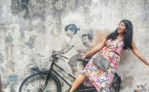 bicycle street art penang